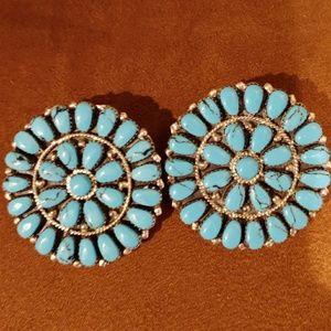 Native American Oversized Turqoise Earrings